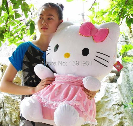 Lovable Hello Kitty Doll Big Babydoll Brinquedo De Pelucia Birthday Gift 35cm Dressd Hello Kitty Toys For Girls(China (Mainland))