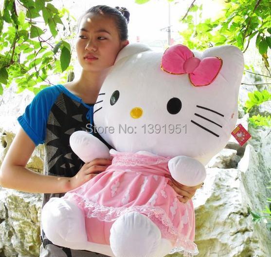 Lovable Hello Kitty Doll Big Babydoll Brinquedo De Pelucia Birthday Gift 35cm Dressd Hello Kitty Toys For Girls(China (Mainland))