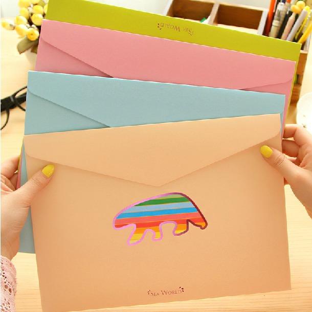 Sea World Top Open Pack of 4 Cute Cardboard Document File Folder Bag Organizer<br><br>Aliexpress