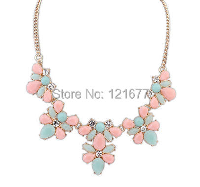 Fashion 2014 New Gold Plated Elegant Flower Crystal Choker Necklace Women Statement Necklaces Pendants Gift N0301