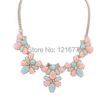 Fashion 2014 New Gold Plated Elegant Flower Crystal Choker Necklace Women Statement Necklaces & Pendants Gift N0301