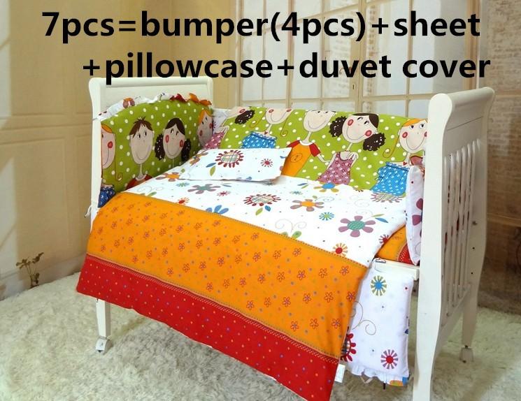 Promotion! 6/7PCS baby bedding sets baby crib set ropa de cuna Comforter cover cot quilt sheet bumper ,120*60/120*70cm<br><br>Aliexpress