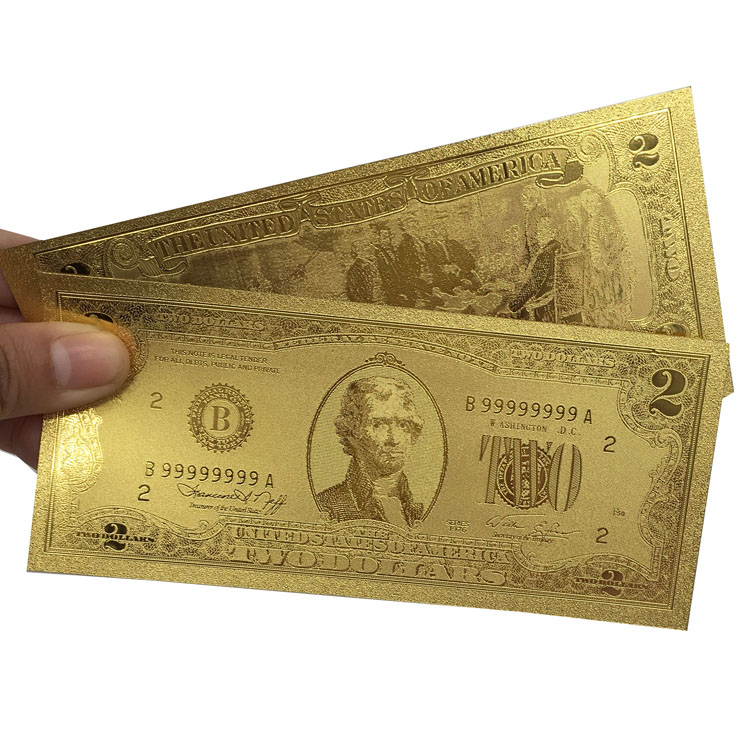 Collectible Gold Foil Banknotes USD 2 Dollar 24K 999 Gold Plated Banknote For Souvenir Gift(China (Mainland))