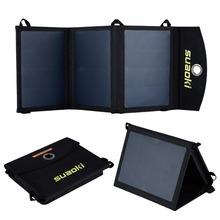 Suaoki Portable 16W Folding Foldable Solar Panel Charger Solar Power Bank for Mobile Phone Battery Dual Output Waterproof(China (Mainland))
