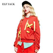 Buy Elf SACK yp lantern winter royal wind block color ribbon loose o-neck pullover sweatshirt female for $36.13 in AliExpress store
