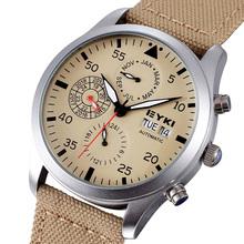 Nueva llegada EYKI marca relojes mecánicos automáticos caballero de marca Sport Luxury banda de la tela años meses semana fecha relojes de pulsera