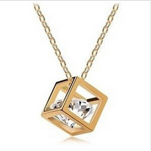 Top Quality 18K Rose Gold Plated Magic Cube 0.75MM Zircon Pendant Charm Necklace fashion necklaces for women 2015 XY-N279(China (Mainland))