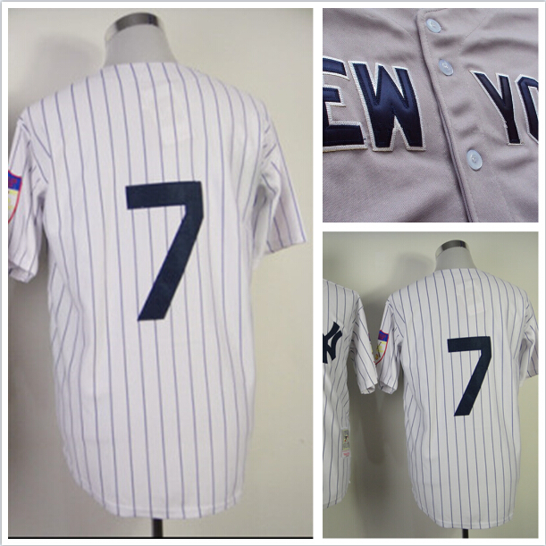 youth yankees #7 Mickey Mantle jersey,Cool base jersey,New York Men's Baseball jersey Embroidery logos,authentic Stitched Jersey(China (Mainland))