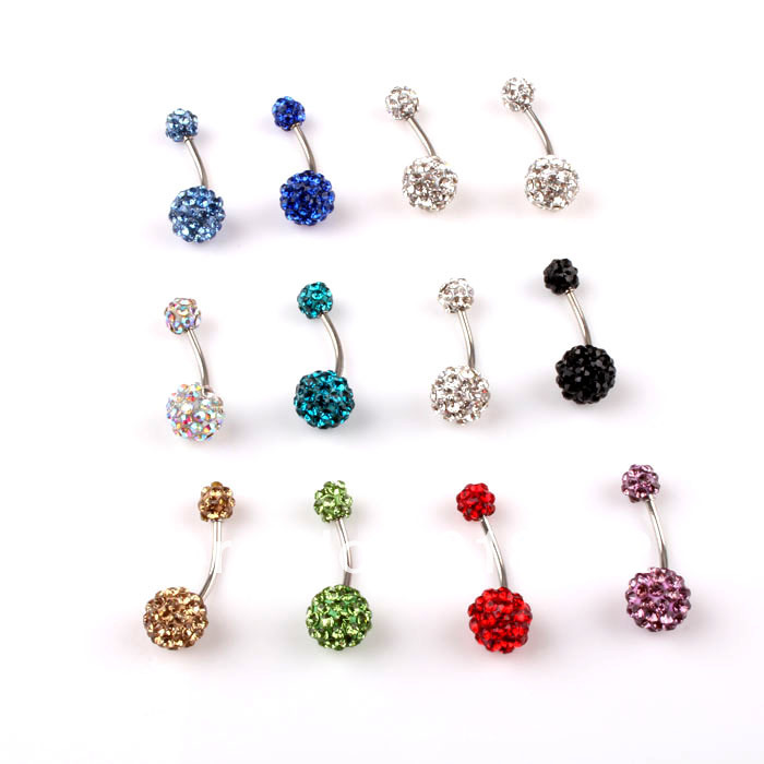 Cute belly rings crystal disco ball 316l steel belly bar for Belly button jewelry store