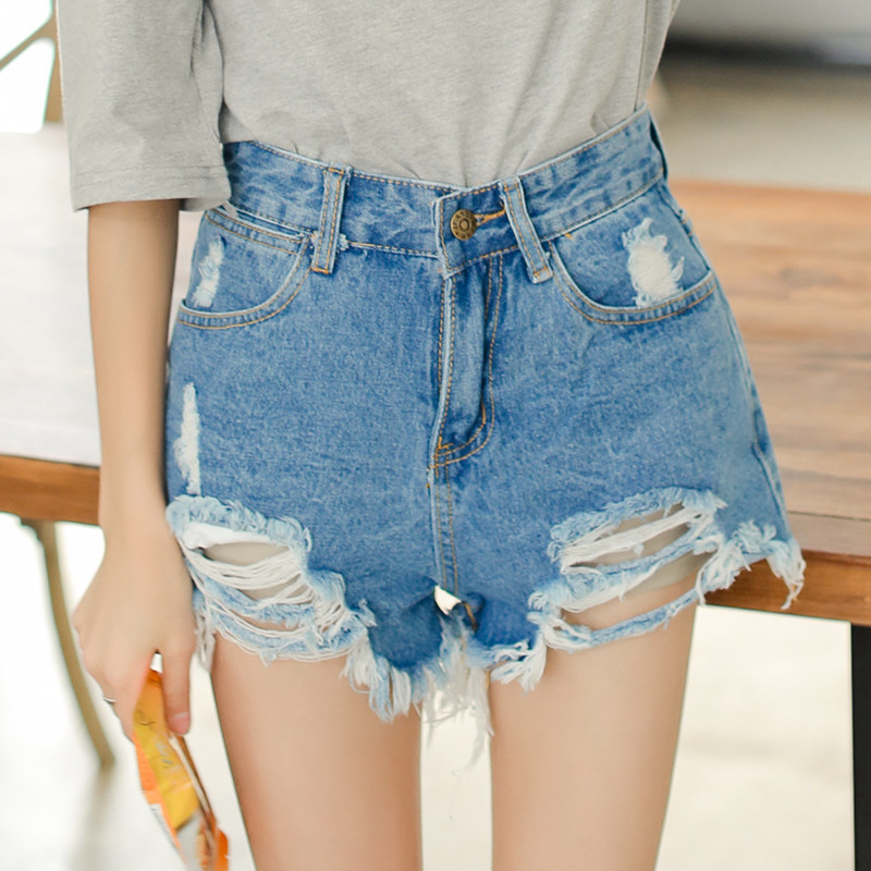 Loose High Waisted Denim Shorts - The Else