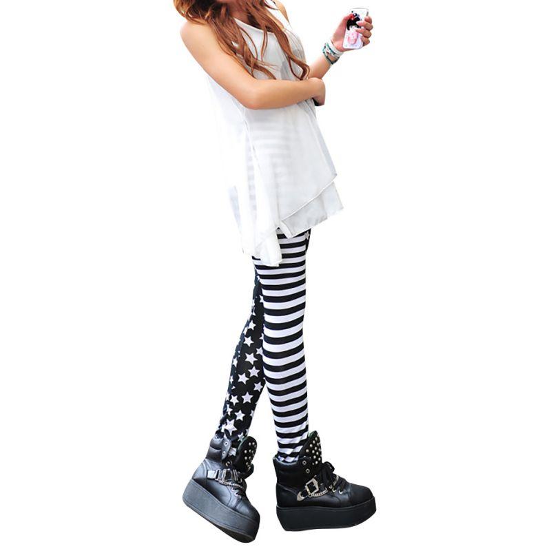 Ladies Girls Elastic Stitching Stars Stripes Leggings Tights Pants zy11(China (Mainland))
