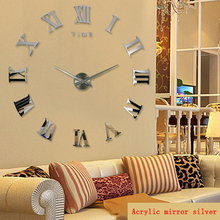 2016 3d diy living room new acrylic quartz watch wall clock clocks reloj de pared home decoration hot sale Sticker free shipping
