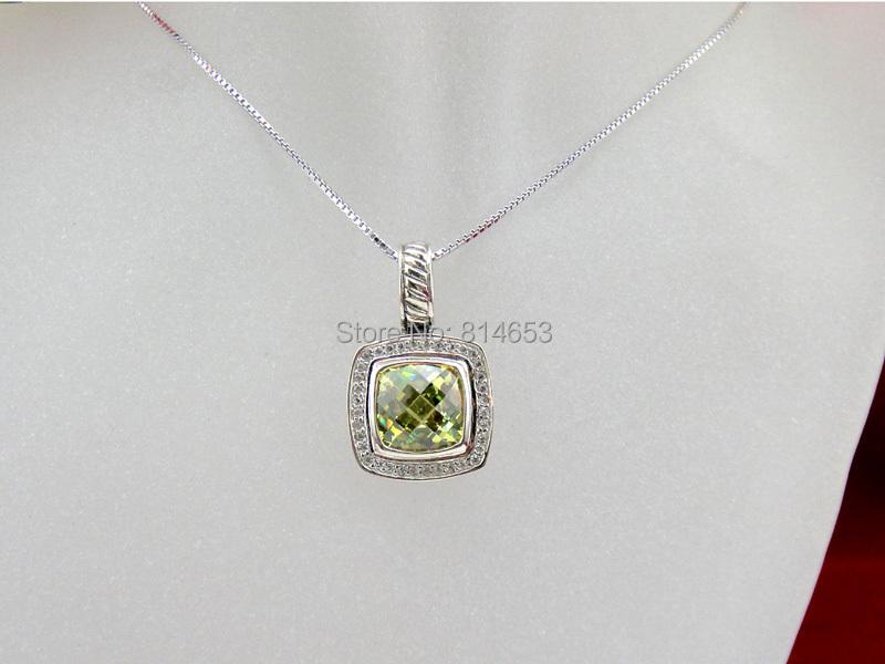 925 Sterling Silver Jewellery Lemon Citrine Color Pave Setting Pendant(China (Mainland))