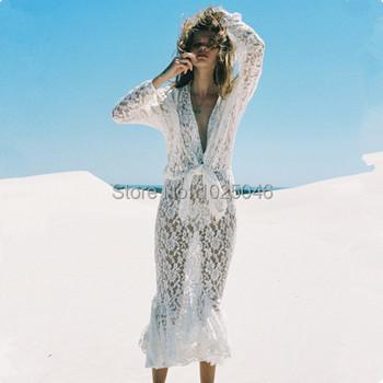 Новые 2015 женщин кружева пляж длинное платье, лето сексуальная купальник прикрыть пляжной женские, купальники прикрыть пляж платье