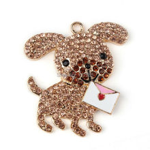 Clearance Sale 1 Pc 40*30mm  Lover Dog with Heart Mail  Rhinestone Pendant Chunky Bubblegum Necklace jewelry  Valentine Gift(China (Mainland))