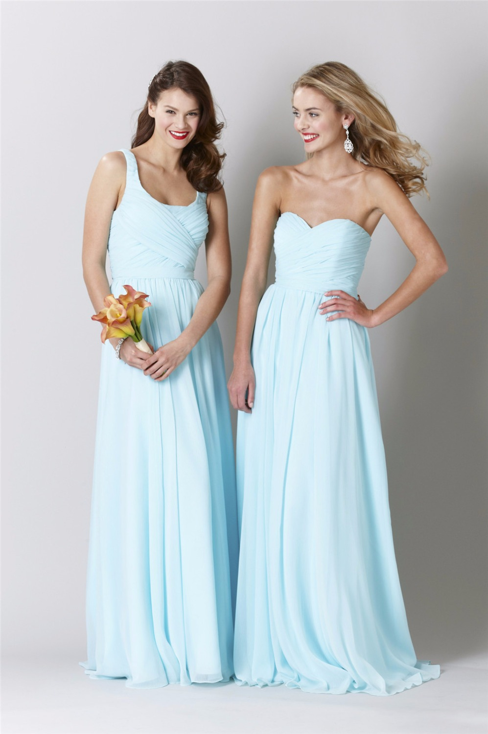2016 sweetheart robe demoiselle d 39 honneur long chiffon for Light blue dress for wedding