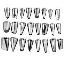 Hot Stainless Steel Cake Decorating Icing Pastry Piping Nozzles Tips Set 24pcs(China (Mainland))