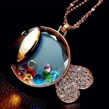 Fashion Crystal Rhinestone Fish necklace Wholesale !Free shipping!