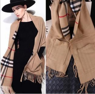 Free Shipping Brand Design Classic Scarf 100% Cashmere Wool British Plaid Scarf Shawl 190cm*65cm Beige Camel Scarves S3788(China (Mainland))