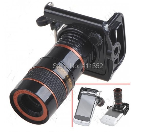 8x Zoom Optical Lens Mobile Phone Telescope Camera For iPhone New Universal Clip Eightfold Magnifier with Holder