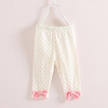 Girls Leggings Polka Dot Summer Leggins Girls Bow Elastic Waist Children Leggings Casual Kids Clothes 2304C