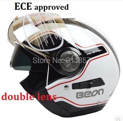 ECE double lens BEON casque motorcycle helmet off road casco motocross capacete vintage open face helmet with inner sun visor<br><br>Aliexpress