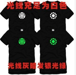 Iron Man 23 fusion energy core of steel Avengers luminous Printed Mens Men T Shirt Camisetas Masculinas Camisa Masculina Tshirt(China (Mainland))