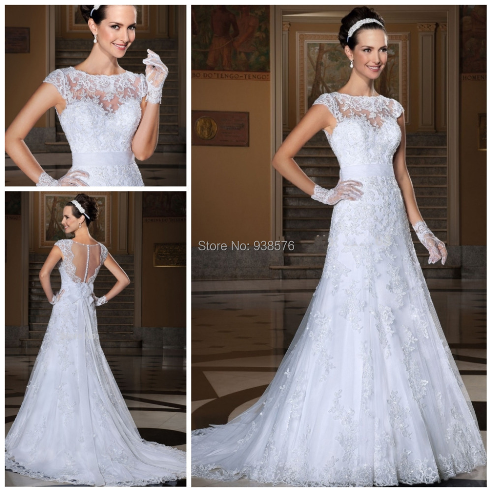 Sexy See Through Corset Wedding Dresses Lace Mermaid Bridal Gowns Tulle White Vestido De Noiva Cap Sleeves 2015 Vinntage Fashion(China (Mainland))