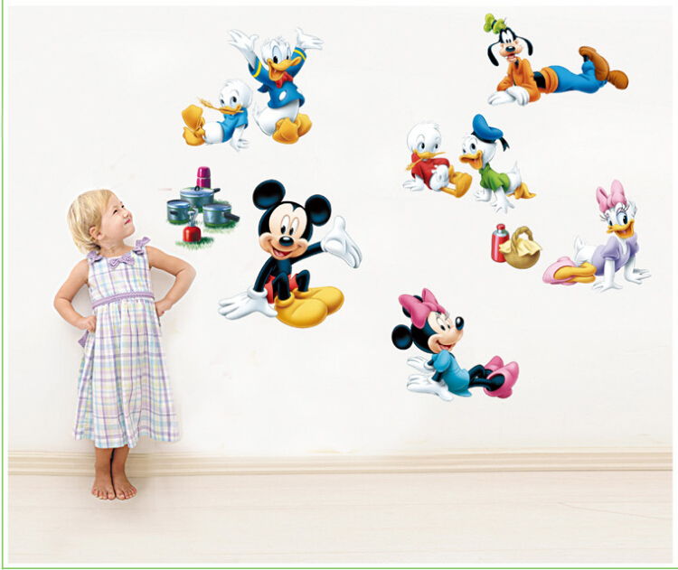 Abc1030 mickey minnie donald duck wall sticker pour for Stickers mickey chambre