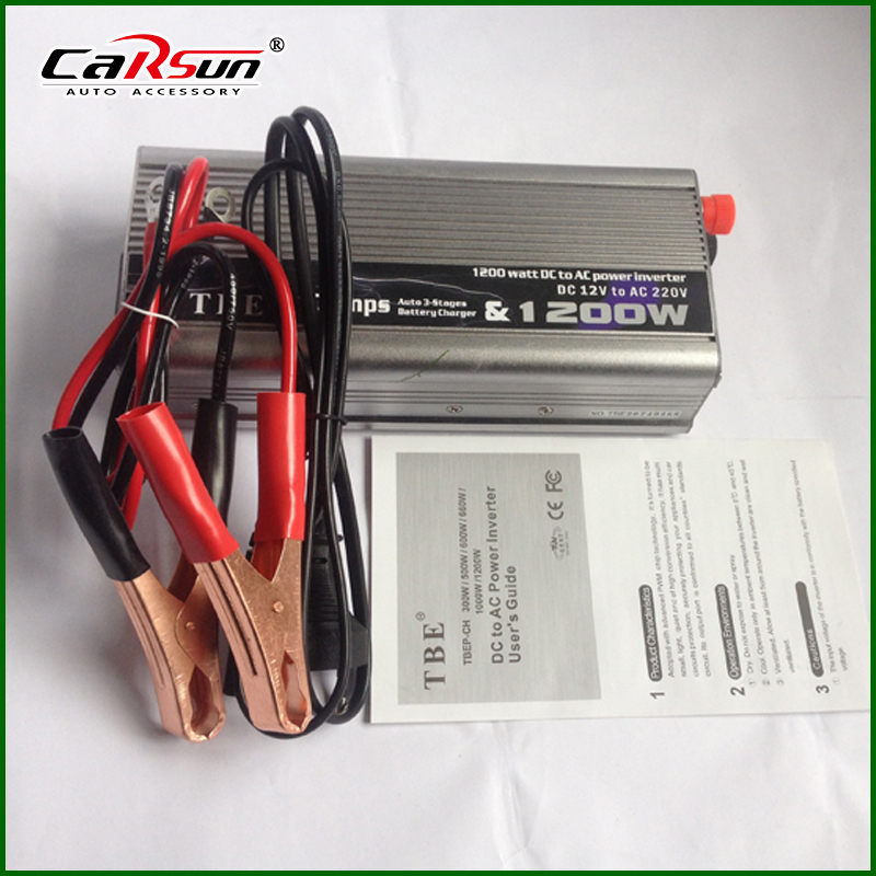 Фотография DC 12v To AC 220v/230v 50HZ 1200W UPS Power Inverter With Charger Battery Modify Sine Wave 1200W