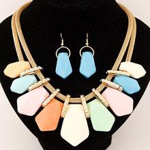 New 2015 Jewelry Set Plant Shape Imitation Gemstone Five Colors Choker Statement Jewelry Neckalce Drop Earrings Sets For Women(China (Mainland))