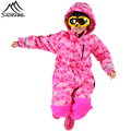 2016 New Brand Kids Ski Sets Outdoor Snow Hooded One Piece Jumpsuits Waterproof Windproof Breathable Children