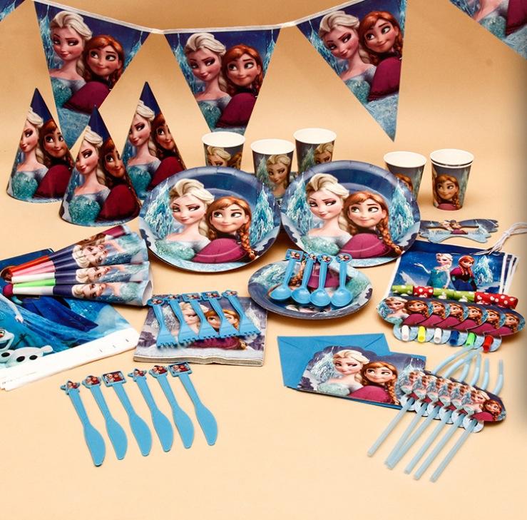 104 Pcs Elsa Olaf Party Supplies Kid Birthday Suppliers