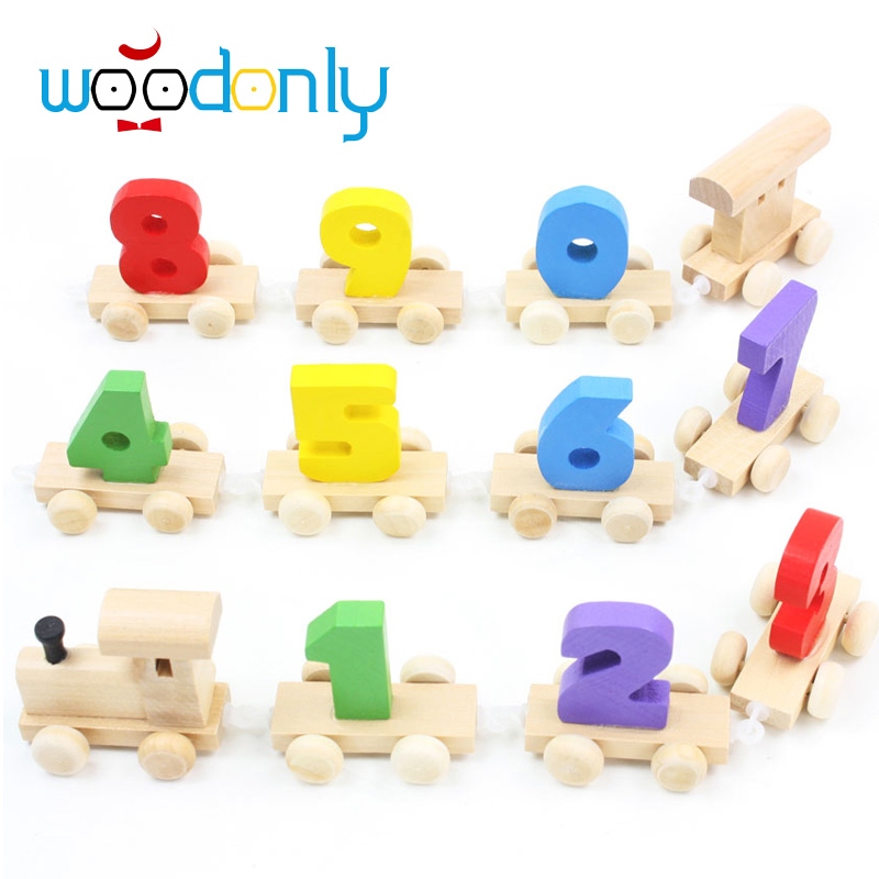 Wooden train pulling the remove the car game/digital baby children enlightenment education children wooden doll birthday gift(China (Mainland))