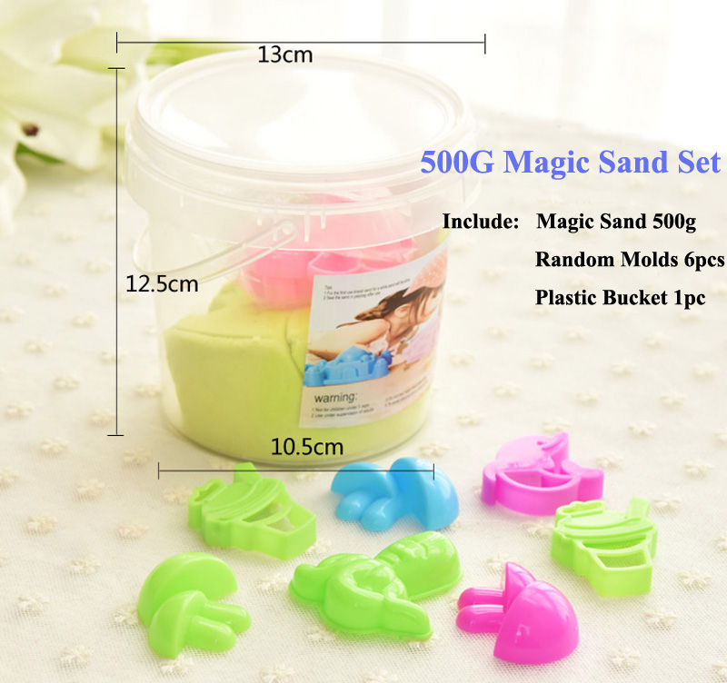 500g Magic Sand + 6pieces Sand Molds in Plastic Bucket Children's Indoor Educational Toys Multicolor Kid Play Sand Sets 8 Colors