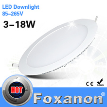 Foxanon Brand LED Panel Light 85-265V 3W 6W 9W 12W 15W 18W Led Ceiling Recessed Grid Downlight Ultra thin Lamp 2835 SMD Lighting(China (Mainland))