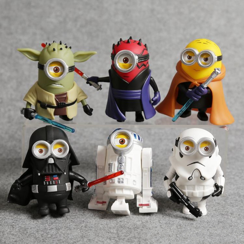 Minion Cos Star Wars Yoda Darth Maul Darth Vader R2-D2 Stormtrooper Obi-Wan PVC Action Figures Toys 6pcs/set