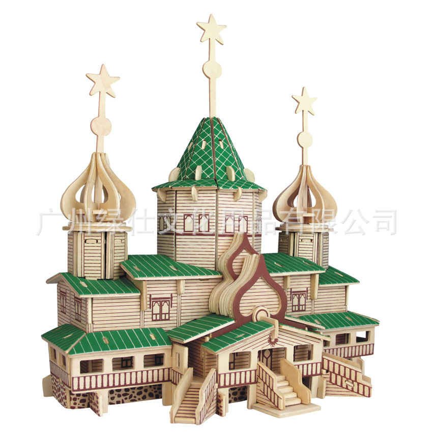 Russia House Model 3D Puzzle Plywood Puzzle DIY Hnadmade Wooden Toy for Learning and Education(China (Mainland))