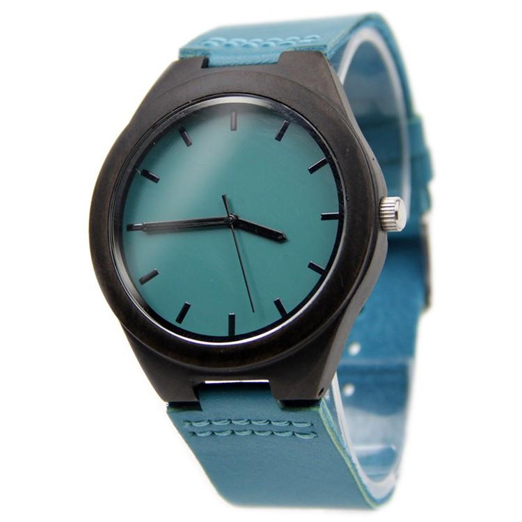 Древесины бамбука смотреть синий причинно смотреть натуральная кожа бамбук деревянные кварцевые часы для мужчин женщин лучшие подарки с подарочной коробке