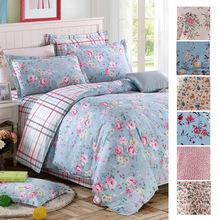 2015 luxury 100% Cotton European garden style Bed flat sheet linen duvet cover bedding set Flowers bedclothes king queen  #45(China (Mainland))