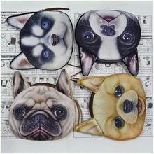 2015 Coin Purses 3D Print Pattern Cute Cartoon Little Dog Women Wallets Lady Small Zipper Bag