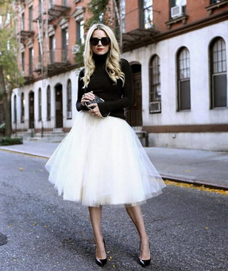 new puff chiffon tulle skirt white faldas high waist