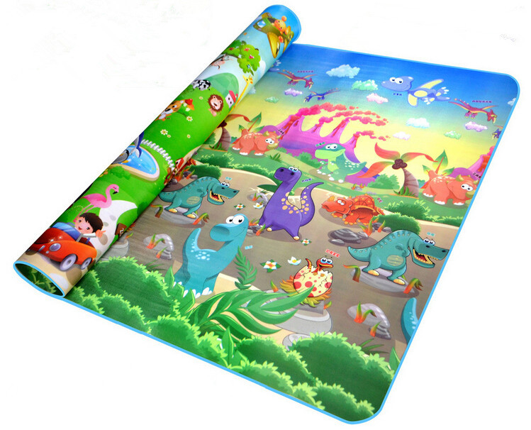 Baby Play Mat 200*180*0.5cm Crawling Mat Double Surface Baby Carpet Animal Car+Dinosaur Developing Mat for Children Game Pad(China (Mainland))