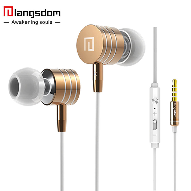 Langsdom i7A 3.5mm Metal Earphones Super Bass Stereo Earphone Earbuds with Microphone Volume Headsets for phone fone de ouvido(China (Mainland))