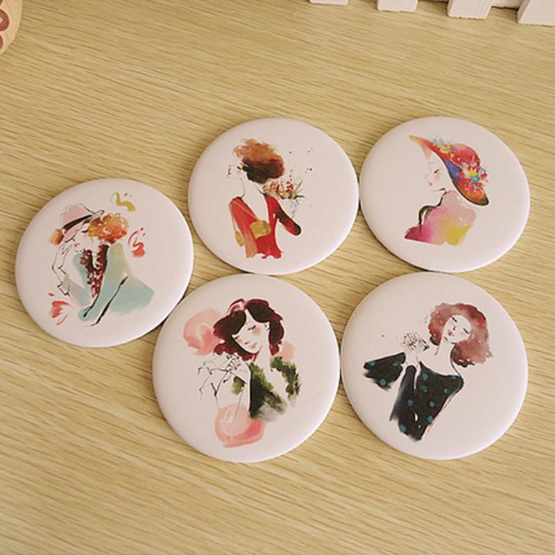 New Arrival Mini Makeup Mirrors Cartoon Painted Cosmetic Makeup Compact Mirror Randomly Send(China (Mainland))