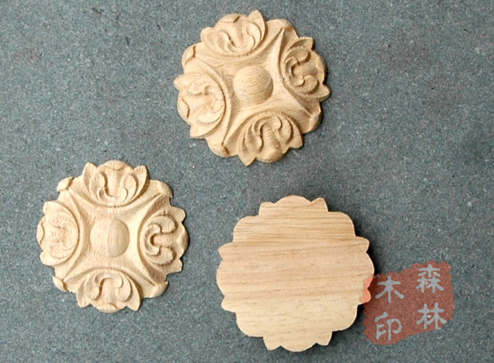 Wood antique furniture dongyang wood carving motif wood shavings solid wood furniture decoration small round applique(China (Mainland))
