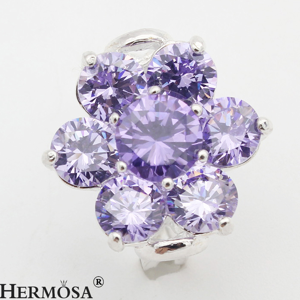 hermosa jewelry new romantic beautiful citrine, amethyst, honey-colored crystal elements made of 925 sterling silver rings YY46(China (Mainland))