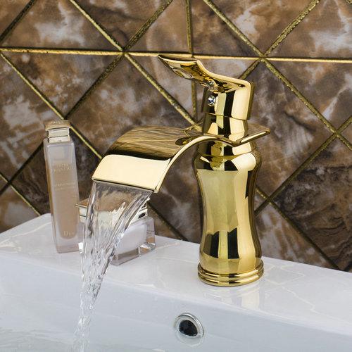 Install sink faucet for pedestal