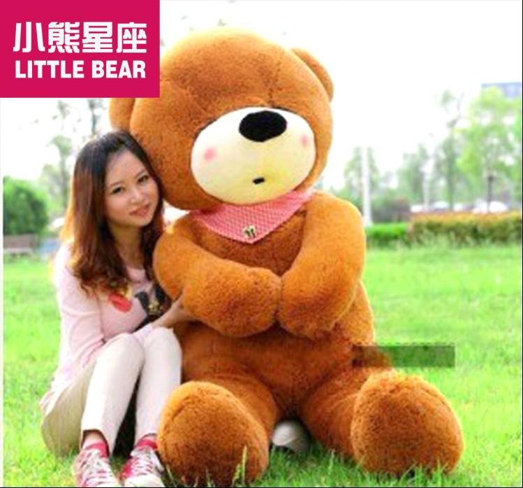 huge plush dark brown teddy bear toy large sleeping bear toy stuffed big teddy bear gift 180cm(China (Mainland))