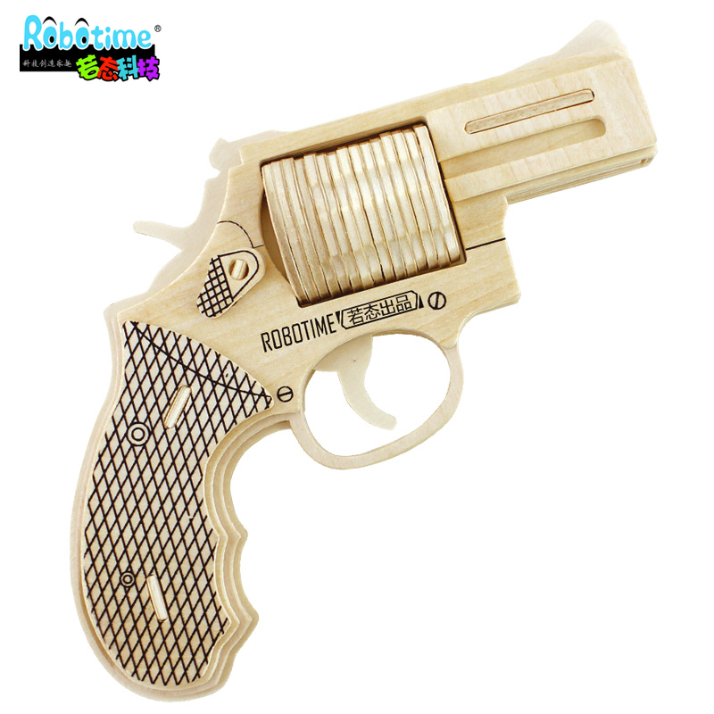 3D Puzzle Revolver Toys Wooden Jigsaw Three-Dimensional Model Grab Make Real Gun Metal Method  -  Rose Garden Co., Ltd. store